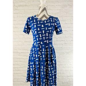 LuLaRoe Amelia Royal Blue and White Print Dress